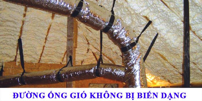 Nguyên tắc sử dụng ống gió mềm làm cho đường ống được tự nhiên không bị nén, không biến dạng