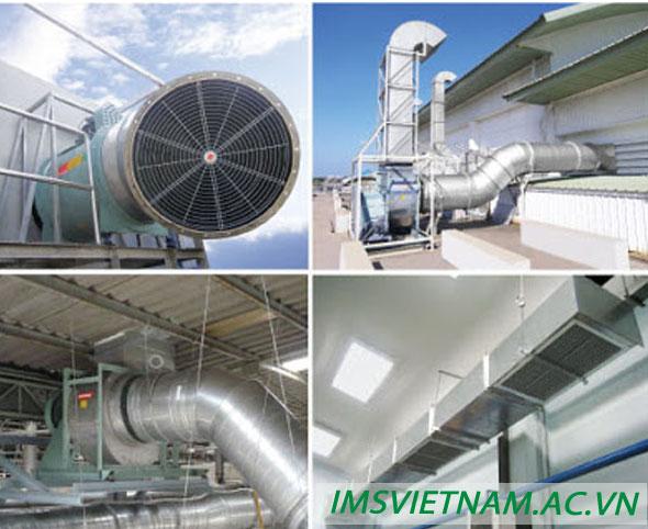 Ứng dụng Ống Gió Mềm Cách Nhiệt lắp đặt hệ thống thi công đường ống dẫn khi nóng nhà máy.