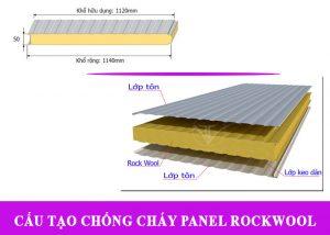 Cấu tạo Tấm Panel Rockwool Chống Cháy rất đặc biệt nên tăng khả năng chống cháy, cách nhiệt độ cao tốt.