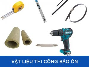 Chuẩn bị vật liệu để thi công bọc bảo ôn đường ống