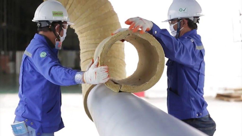 Sử dụng ống bảo ôn cách nhiệt rockwool thi công bảo ôn